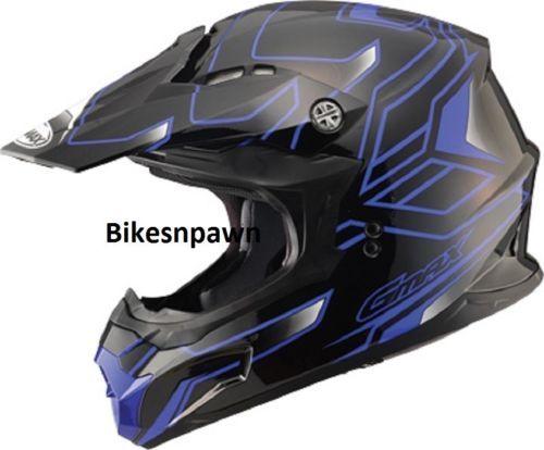 New Black/Blue XS Adult GMax MX86 Offroad Helmet DOT & ECE 22.05 Approved