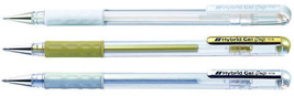 PENTEL HYBRID GEL GRIP K118 MEDIUM 0.8mm ROLLERBALL METALLIC GEL PEN - $4.87