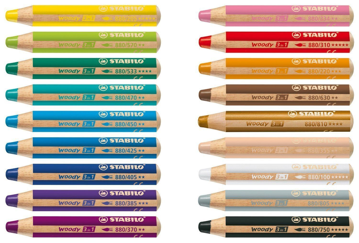 STABILO WOODY 3 in 1 MULTI-TALENTED JUMBO PENCILS - 18 Colours Available for sale  USA