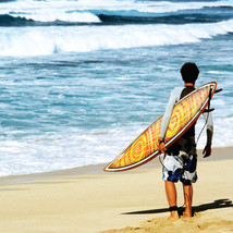 "BIRTHDAY CARD ""HAWAIIAN SURFER DESIGN"" LARGE SQUARE SIZE 6.25"" x 6.25"" H... - $4.37"