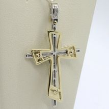 SOLID 18K WHITE YELLOW GOLD PENDANT DOUBLE CROSS, JESUS, SATIN, MADE IN ITALY image 8