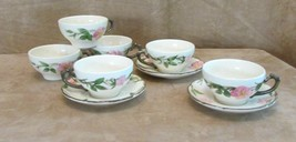 Vintage 6 tea coffee cup saucer lot set Franciscan Desert Rose mug USA c... - $36.50