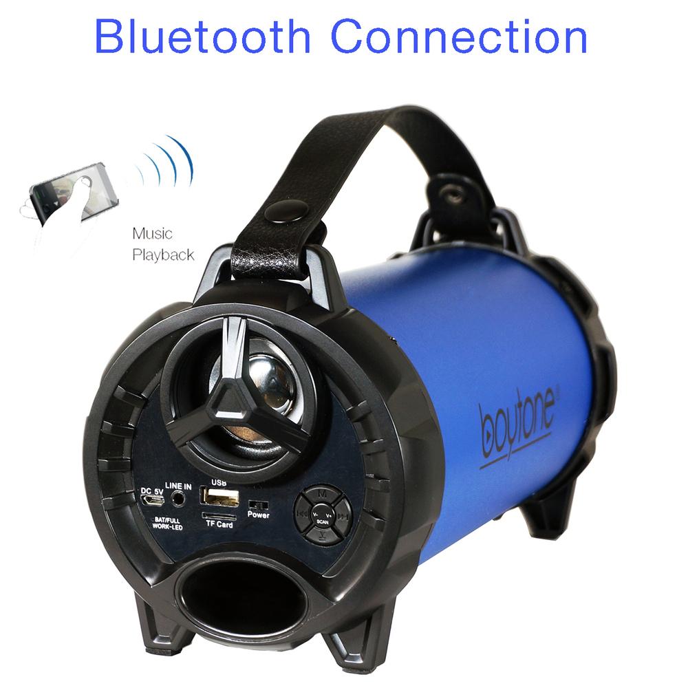 Boytone BT-40BL Portable Bluetooth Indoor/Outdoor Speaker 2.1 Hi-Fi Cylinder Lou