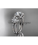 Platinum diamond Cherry Blossom flower, Sakura engagement ring VD8140 - $2,725.00