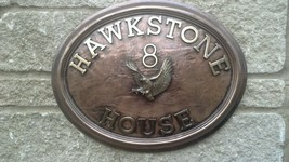 Bird of prey, Flying Eagle. Large Oval house address plaque in cold cast... - $154.44