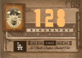 2005 donruss playoff prime cuts dodgers sandy koufax 128 wins 1965 baseball card - $12.99