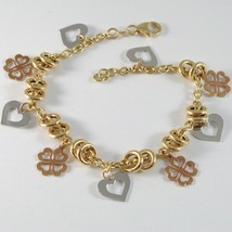 18k YELLOW WHITE ROSE GOLD BRACELET, ROLO, CIRCLE, HEART AND FOUR LEAF PENDANT image 1