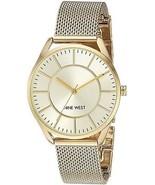 Nine West Women's NW/1922CHGB Gold-Tone Mesh Bracelet Watch - £74.87 GBP