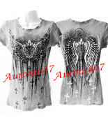 Tattoo Fluer De Lis Wings Studded Heavy Metal Cross Rhinestone T Shirt T... - $69.99