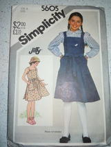 Vintage Simplicity 1982 Girl Size 8 Back Wrap Sundress  or Jumper  #5605 - $4.99