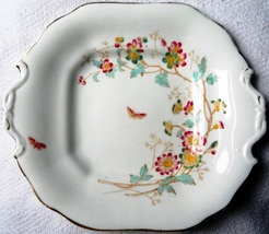 "Antique Adderly England Floribel 11"" Square Serving Dish Circa 1900 Porc... - $9.95"