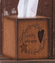 Primitive Tissue Box Paper Mache' 3TB003-Star/Heart Country Welcome - $7.95