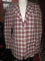 Vintage 70s wild plaid sport coat blazer jacket hipster 40 Marco Clothes USA - $72.58