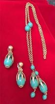 Vintage 1960's Gold Tone & Green Bead Dangle Pendant Necklace & Earrings... - $29.02