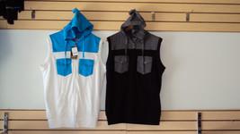 White Aqua  sleeveless hoodie vest sweater Sleeveless Casual Vest jacket... - $30.00