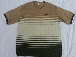 Green Tan Olive short sleeve V neck sweater Willie Esco V neck sweater 2XL - $5.22