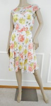 Nwt  Betsey Johnson Floral Fitted Skater Dress Cap Sleeve Sz 8 Ivory Pink $148 - $69.25
