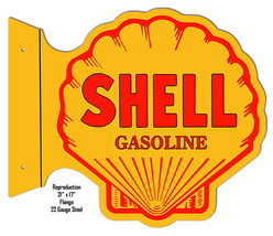 Reproduction Shell Gasoline Flange Laser Cut Out Metal  Sign 17×21 - $50.49