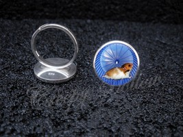 925 Sterling Silver Adjustable Ring Hamster on Wheel Running Cute Tiny A... - $39.00