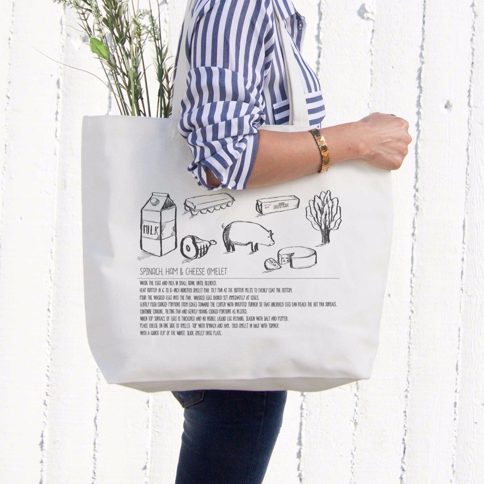 Omelet Recipe Canvas Bag Grocery Bag Diaper Bag Mothers Day Gifts For Moms
