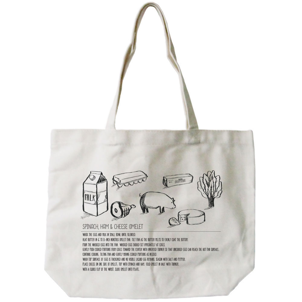 Omelet Recipe Canvas Bag Grocery Bag Diaper Bag Mothers Day Gifts For Moms image 2