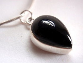 New Black Onyx Teardrop 925 Silver Necklace New India - $19.02