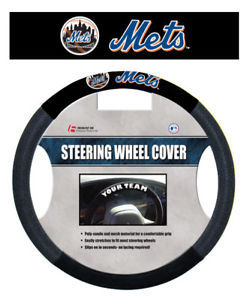 NEW YORK METS MESH SUEDE CAR AUTO STEERING WHEEL COVER MLB BASEBALL