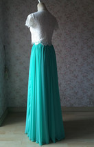 Blue Green Maxi Chiffon Skirt Silk Chiffon Maxi Skirt Wedding Chiffon Skirt image 7