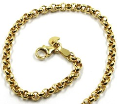 9K YELLOW GOLD BRACELET ROLO CIRCLE LINKS 3.5 MM THICKNESS, 7.5 INCHES, ... - $155.00