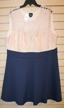 BEAUTIFUL NEW WOMENS PLUS SIZE 3X LACE TOP NAVY BLUE & WHITE SKATER SUMM... - $19.34