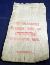 Canvas Coin/Money Bag~Merchants National Bank of Newburyport, Mass~Obsolete - $9.00