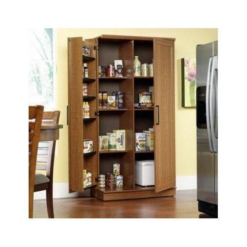 Large Kitchen Cabinet Storage Food Pantry Wooden Shelf