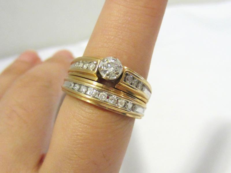 Vintage 14K Solid Yellow Gold Wedding Ring Set Keepsake Diamond Engagement 6.75