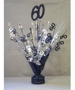 2 Metallic Black & Silver 60th Anniversary or Birthday Balloon Weights 1... - $9.85