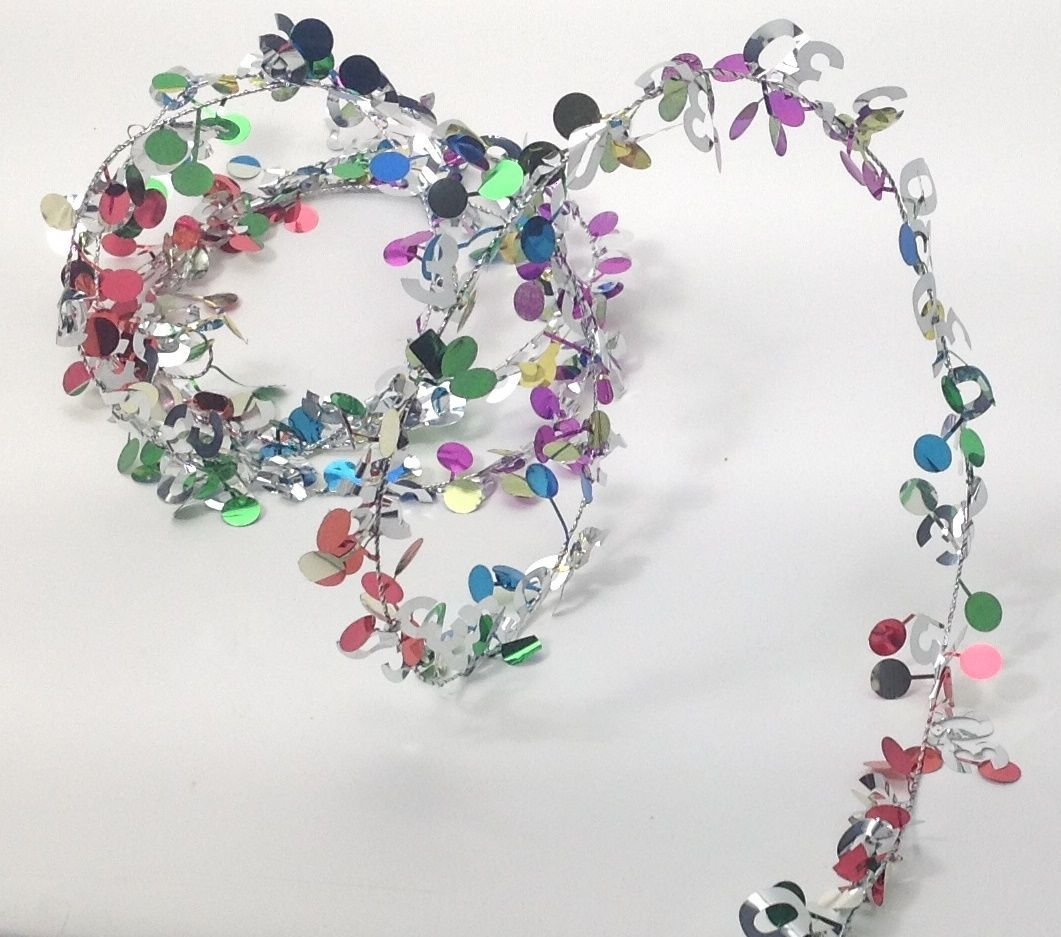 9 ft. Multi color Metallic #60 Birthday Anniversary Wire Garland