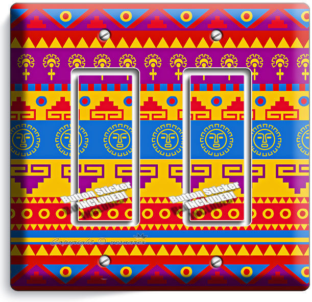 Primary image for LATIN AMERICAN SOUTHWEST AZTEC DOUBLE GFI LIGHT SWITCH WALL PLATE ROOM ART DECOR