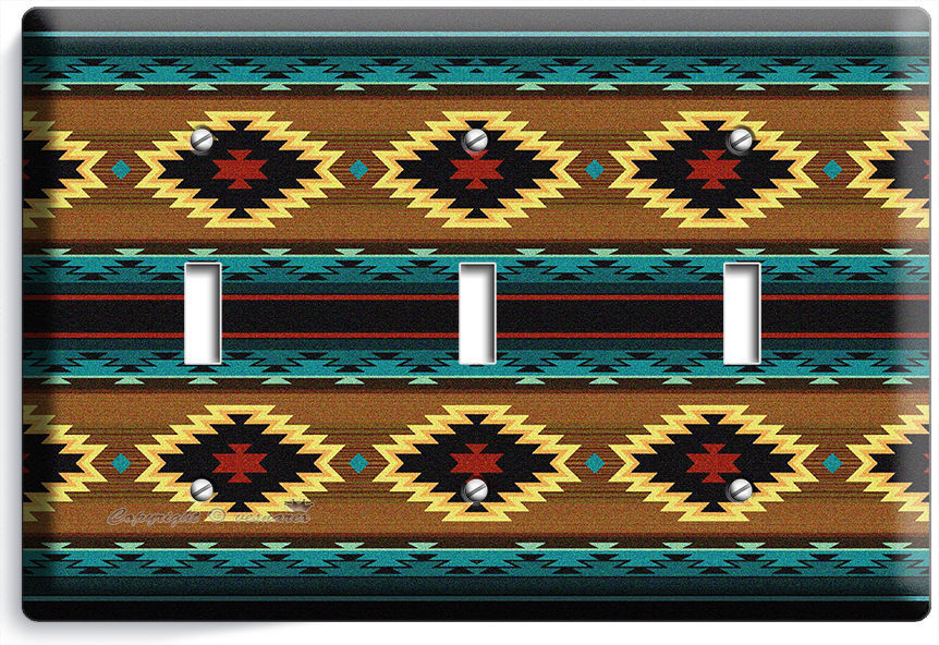 LATIN SOUTHWEST BLANKET PATTERN AZTEC TRIPLE LIGHT SWITCH WALL PLATE ROOM DECOR