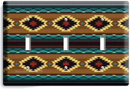 LATIN SOUTHWEST BLANKET PATTERN AZTEC TRIPLE LIGHT SWITCH WALL PLATE ROO... - $14.57
