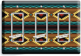 Southwest Blanket Pattern Aztec Triple Gfci Light Switch Wall Plate Room Decor - $14.57