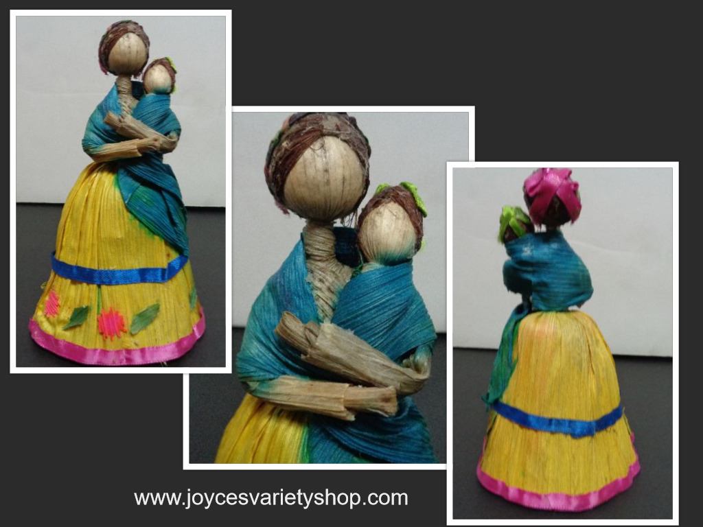 Primary image for Chapala Mexico Handmade Corn Husk Doll Mother & Child