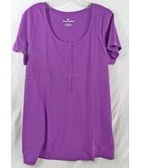 Women's Plus Size Henley Shirt in Purple Short ... - $17.99