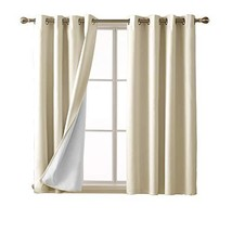 Deconovo Beige Blackout Curtains 3 Pass Coating Linen Look Thermal Insul... - $32.86