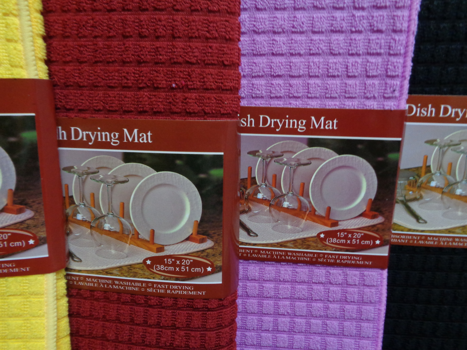 Dish Drying Mat Microfiber Absorbent Machine Washable Fast Drying RED NWT 15""