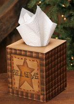Tissue Box Cover Paper Mache'  3TB012-Believe Squared Tissue Box    - $7.95