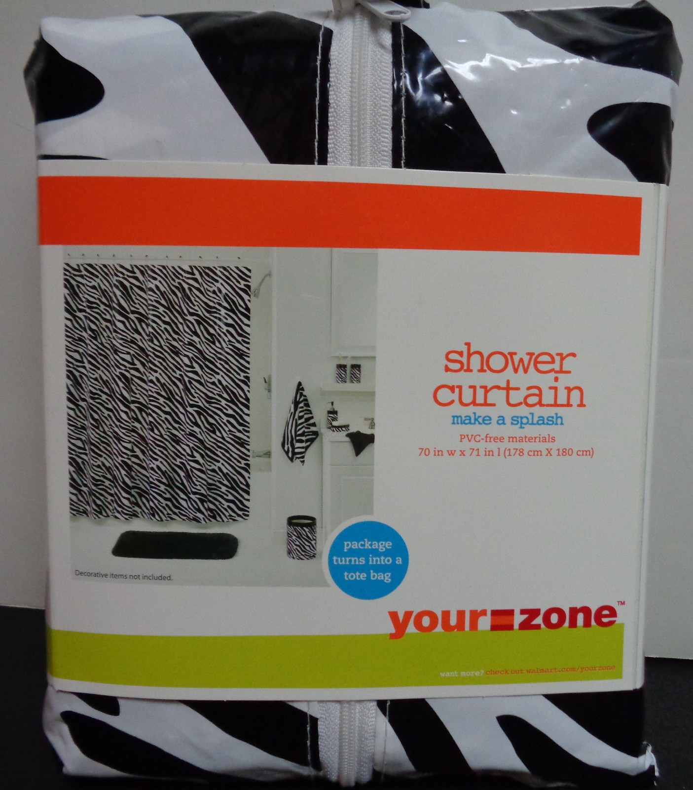 "Zebra Print Shower Curtain & Tote NWT 70"" x 71"""