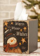 Primitive TIssue Box Paper Mache'  7TB338-Warm Winter Wishes   - $7.95