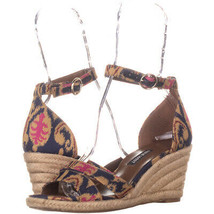 Nine West Jeranna Wedge Heel Espadrilles Sandals 136, Blue Multi, 6.5 US - $26.20