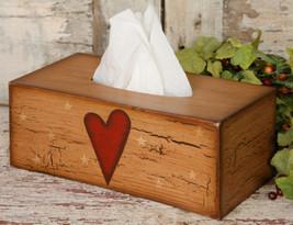 Primitive Tissue Box Cover Paper Mache' 8TB2501-Star/Heart  - $9.95