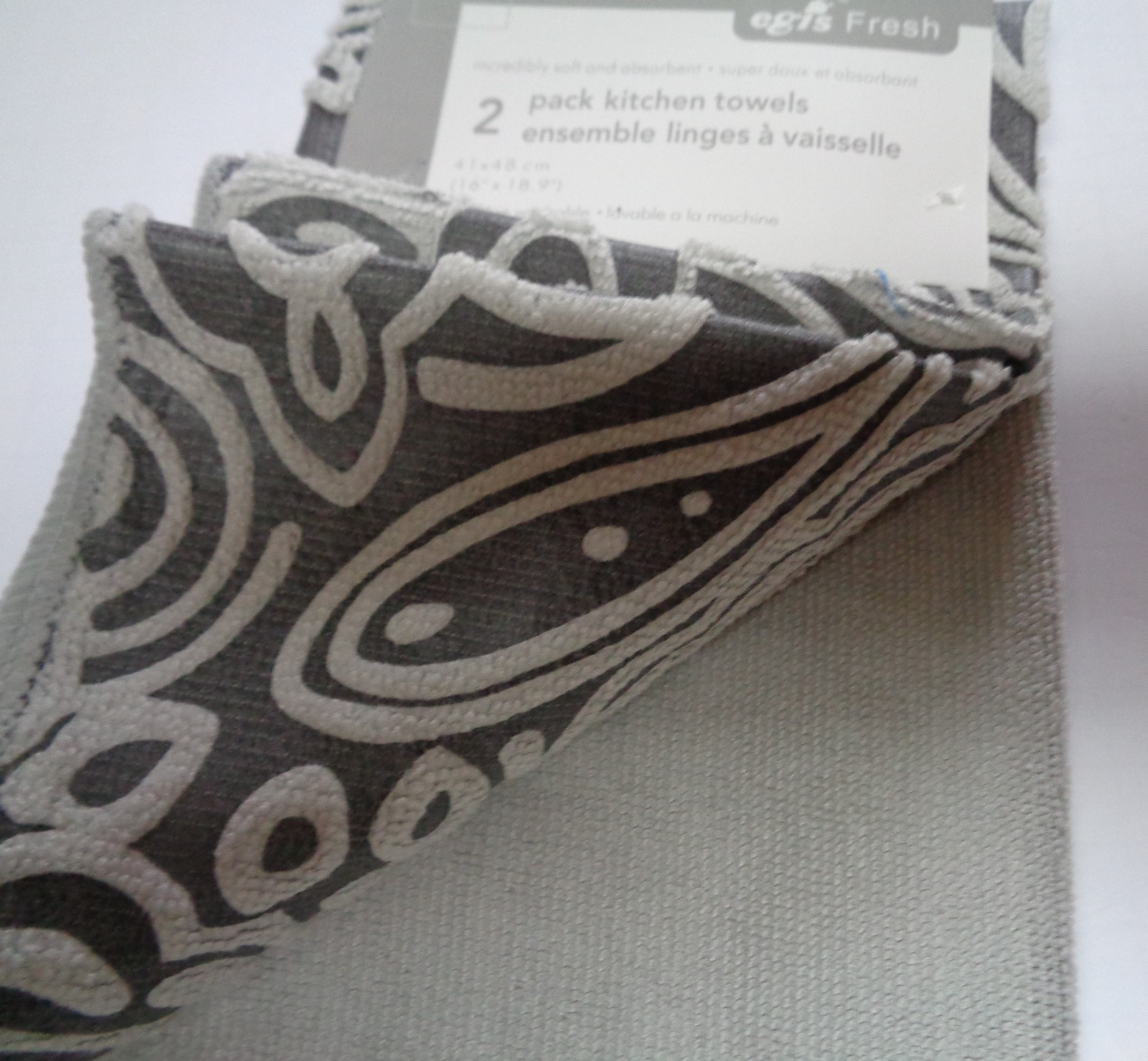 "Textured Plush Kitchen Towel 2 Pack Silver Gray NWT 16"" x 18"""