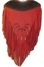 CHEROKEE SOUTHWEST BEAUTIFUL EMBELLISHED RED LEATHER SHAWL & SKIRT FRING... - $2,200.00